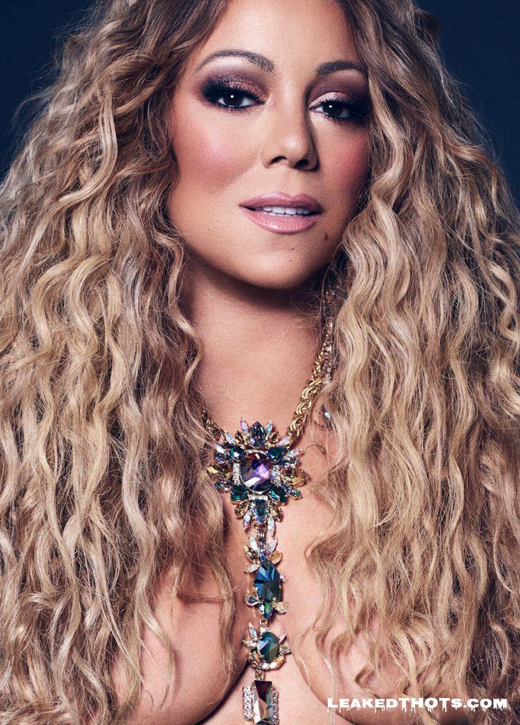 Mariah Carey hair covering breasts
